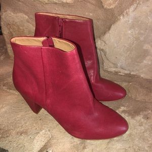 Lucky Brand Red Leather Sairio Ankle Booties 7.5
